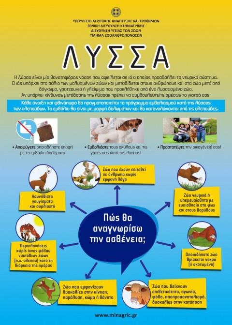Ευχαριστήρια επιστολή του Υπουργείου Αγροτικής Ανάπτυξης προς τις Κυνηγετικές Οργανώσεις για τη συμβολή τους στην αντιμετώπιση της λύσσας